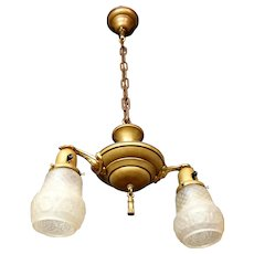 """Early 1900s brass """"pan"""" fixture with pressed basket weave pattern shades"""