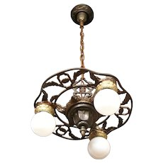 1920s Cast Iron Three Light Bare Bulb Style Chandelier