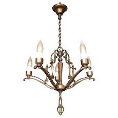 1920s Original Finish Cast Brass Five Light Candle Style Chandelier
