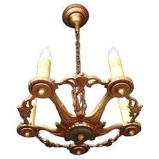 1920s Original Finish Cast Iron Five Light Candle Style Chandelier