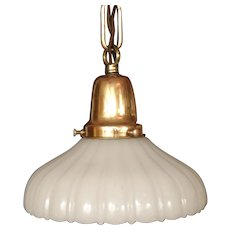 Early 1900s Smaller Brass Entry Pendant with Clambroth type Shade