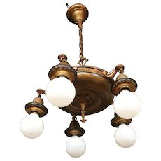 Circa 1920 Mixed Meta Five Light Bare Bulb Style Chandelier