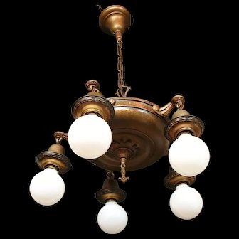 Circa 1920 Mixed Meta Five Light Bare Bulb Style Chandelier