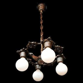 1920s Cast Aluminum Four Light Bare Bulb Style Ceiling Light