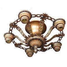 1920s Semi Flush Mount Cast Aluminum Five Light Bare Bulb Style Ceiling Light
