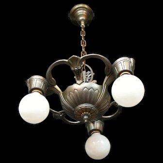 1920s Cast Aluminum Three Light Bare Bulb Style Chandelier