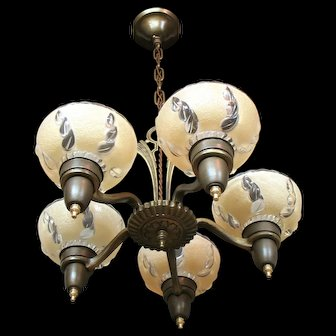 """Vintage Lighting: 1930s Five Light """"Pudding Cup"""" Style Chandelier"""