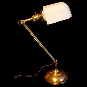 Circa 1920s Adjustable Brass Desk Lamp with Milk Glass Shade