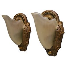 Set of TWO 1930s Cast Iron Wall Sconces with Satin Glass Slip Shades