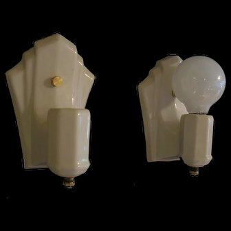 Set of Two 1940s Wall Sconces Art Deco Bare Bulb Style
