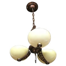 1920s Slip Shade Custard Cup style Three Light Chandelier