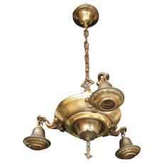 "Circa 1920 Three Light Bare Bulb Style ""Pan"" Chandelier"