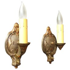 Pair 1926 Original Finish Candle Style Wall Sconces