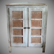 Large Primitive Painted Pie Safe with 8 Tins