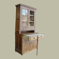 1900 Oak 2 Piece Bakers Kitchen Cabinet with Pull - Out Work Surface