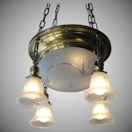 Vintage Brass Light Fixture with Original Shades
