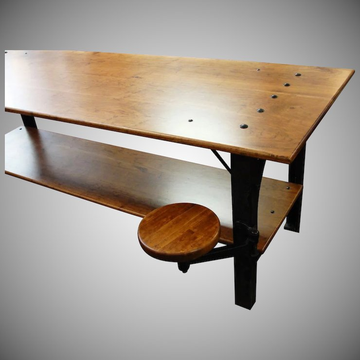 Industrial Table With Cast Iron Legs And Swing Out Stool