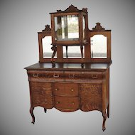 Quartersawn Oak Sideboard or Server with Lion Heads