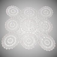 Large Vintage Hand Crocheted Table Doily