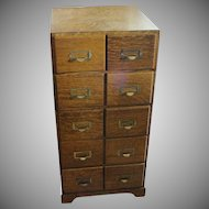 Quarter Sawn Oak 5 Section Stacking File Cabinet with 10 Drawers