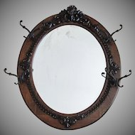 Large Antique Oval Quarter Sawn Oak Mirror with Carving
