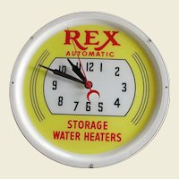 Vintage Lighted Advertising Clock Rex Automatic Storage Water Heaters