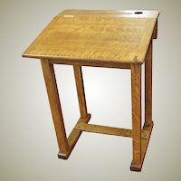 Vintage Oak School Desk Converts from Flat to Slant Top