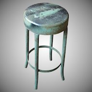 Vintage Industrial Salvage Green Metal Stool