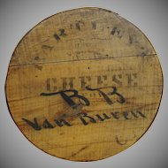 Large Antique Round Cheese Pantry Box with Jersey Cow