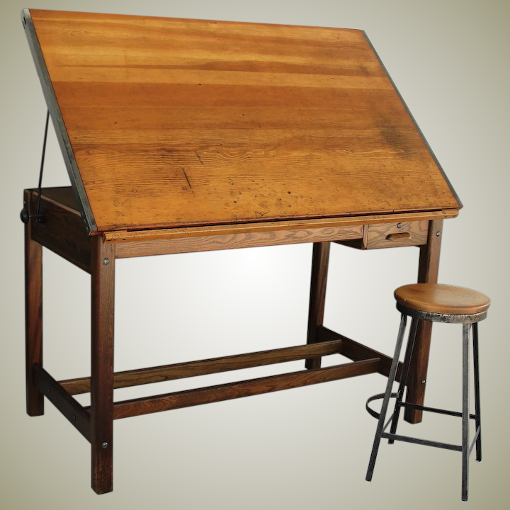Vintage Hamilton Drafting Table Kitchen Island