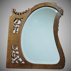 Antique Oak Frame Shaped Mirror with Lovely Carvings
