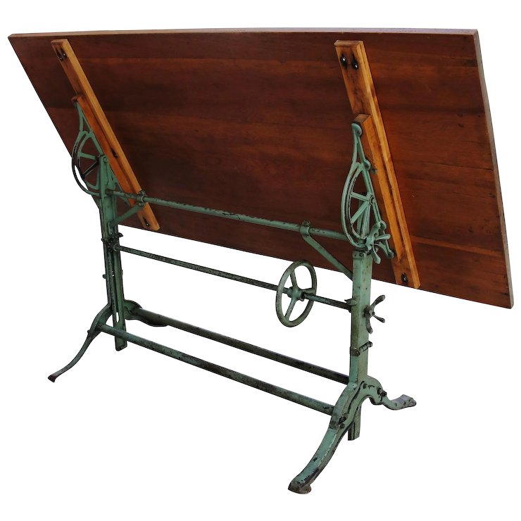 Antique Drafting Table Cast Iron Base