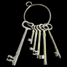Set of Six Heavy Brass Keys on Ring - Red Tag Sale Item
