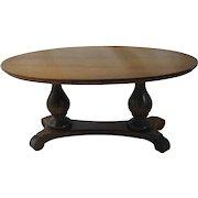 Vintage Salesman Sample Double Pedestal Walnut Table