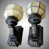 Pair Vintage Cast Iron Porch Light Fixtures