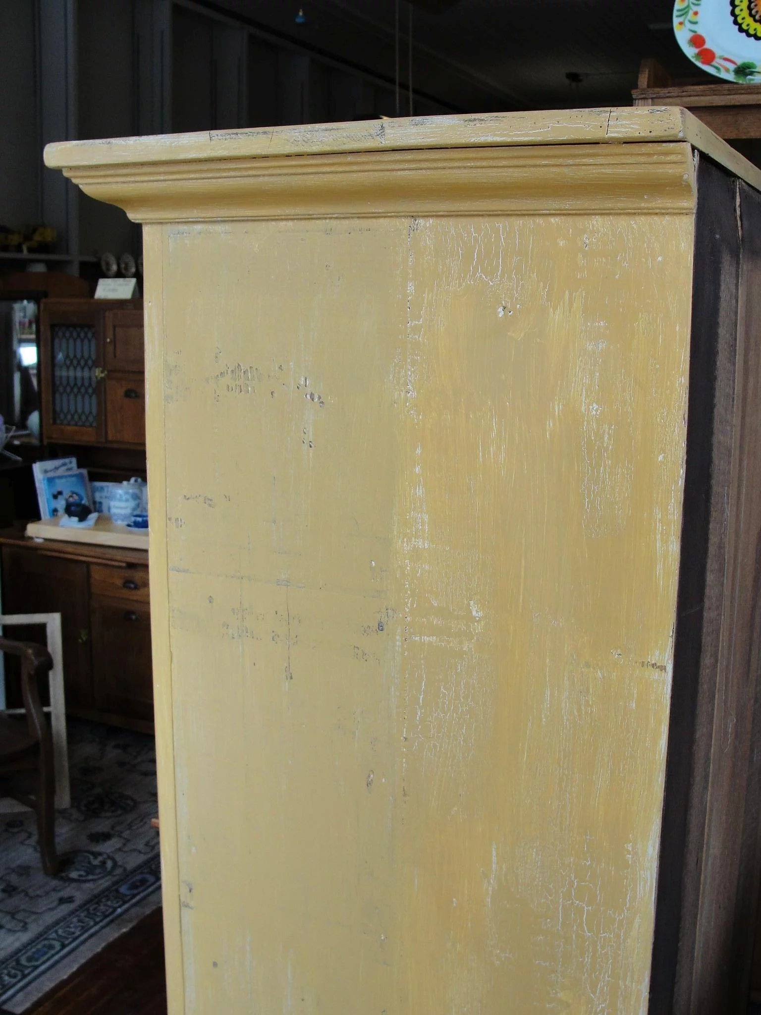 Primitive Painted One Door Jelly Pantry Cupboard Bread