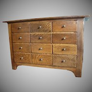 Quarter Sawn Oak Apothecary Pharmacy Cabinet with 22 Drawers