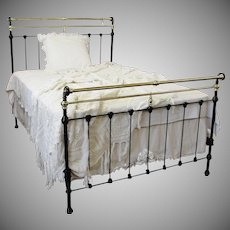 Late 1800's Black Cast Iron and Brass Full Size Bed