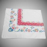 Colorful Vintage Cotton Tablecloth 62 x 52