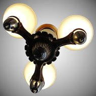 Vintage 1920's Deco Ceiling Light Fixture Chandelier