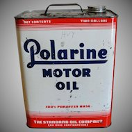 Vintage Polarine 2 Gallon Motor Oil Can