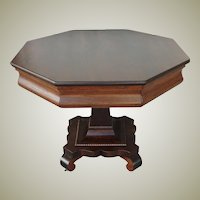 Antique Walnut Pedestal Table Octagon Top