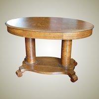 Quarter Sawn Oak Double Pedestal Oval Library Table