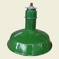 Vintage Abolite Green Porcelain Pendant Industrial Light Fixture