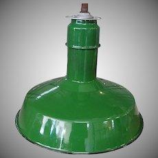 Vintage Abolite Green Porcelain Pendant Industrial Light Fixture
