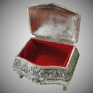 Small Silver Metal Vintage Trinket Jewelry Box Japan