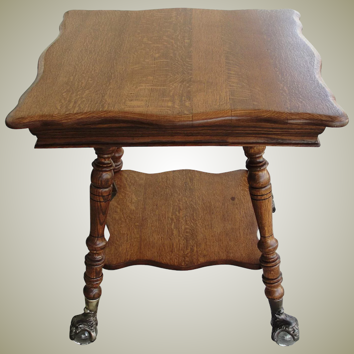 Antique Quarter Sawn Oak Parlor Table Gl Ball And Claw Feet