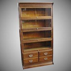 Early 1900 Gunn Quarter Sawn Oak 5 Stack Barrister Bookcase