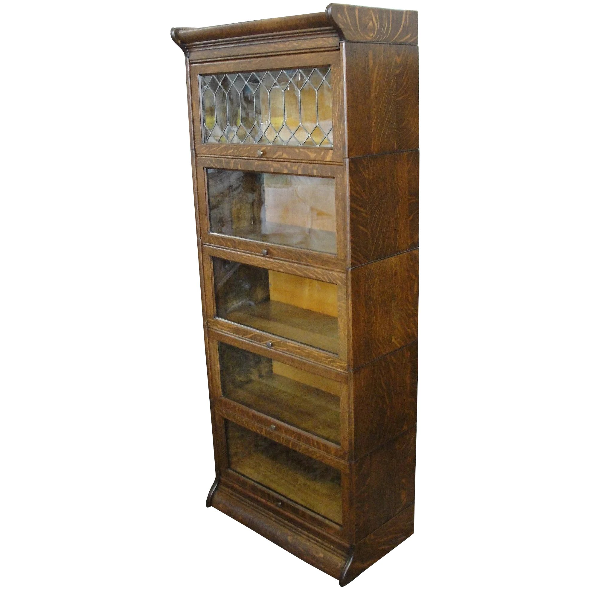 Gunn Quarter Sawn Oak Size Stacking Barrister Bookcase Leaded Glass