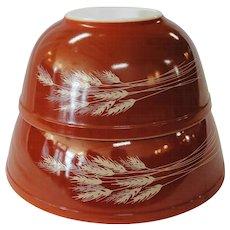 Vintage Pyrex Autumn Harvest Wheat Nesting Mixing Bowls